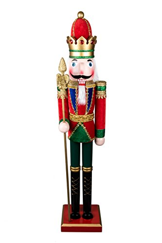 King Nutcracker | Traditional Christmas Decor | With King's Royal Scepter | Wearing Colorful Royal Outfit | Perfect for Any Collection | Perfect for Shelves & Tables | 100% Wood | 32.5″ Tall