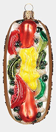 Chicago Style Hot Dog Food Polish Blown Glass Christmas Ornament Decoration