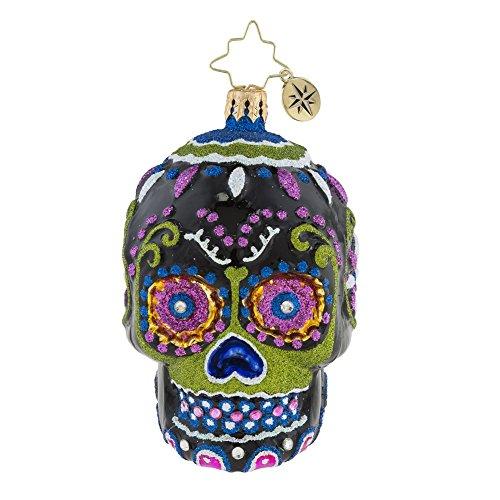 Christopher Radko Drop Dead Gorgeous Skeleton Head Themed Little Gem Glass Ornament
