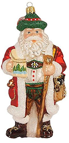 Bavarian Santa Claus with Stein Polish Glass Christmas Tree Ornament Germany