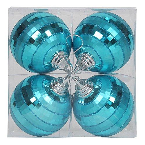 Vickerman Shiny-Matte Finish with Glitter Accents Christmas Mirror Ball Ornaments, 4 per Box, 4″, Teal
