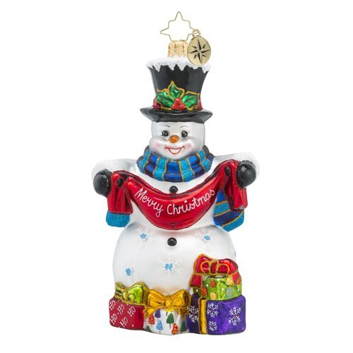 Christopher Radko Friendly Greetings Snowman and Present Christmas Ornament