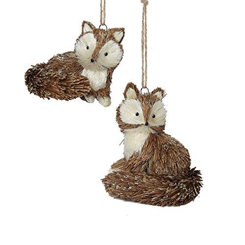 Kurt Adler 1 Set 2 Assorted Sitting Straw Fox Ornaments