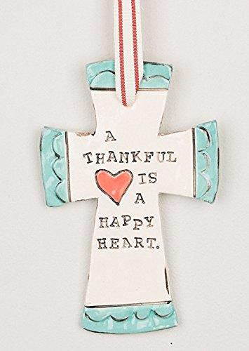 Glory Haus Thankful Heart, Happy Heart Cross, 6.5 x 4″