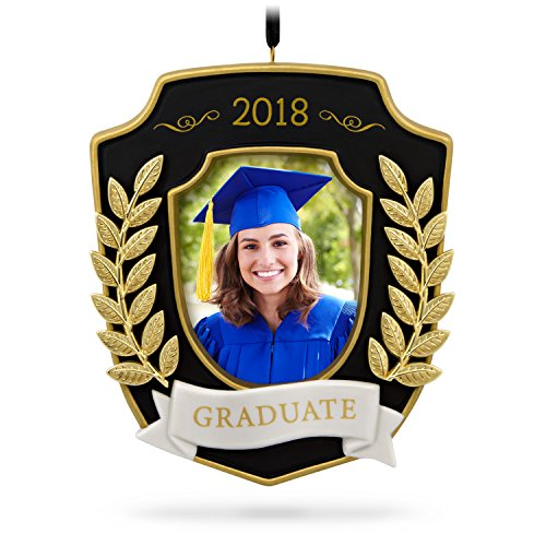 Hallmark Keepsake 2018 Graduation Gift Congratulations Year Dated Porcelain and Metal Photo Picture Frame Christmas Ornament