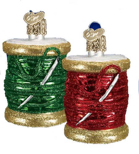 Spool of Thread Christmas Ornaments (Set of 2) by Old World Christmas
