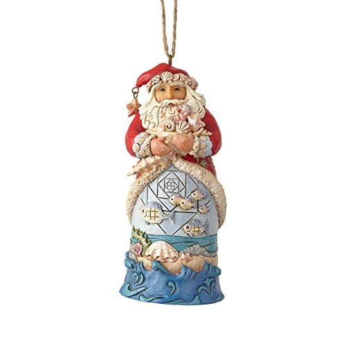 Enesco Jim Shore Heartwood Creek Coastal Santa with Fish Scene Orn