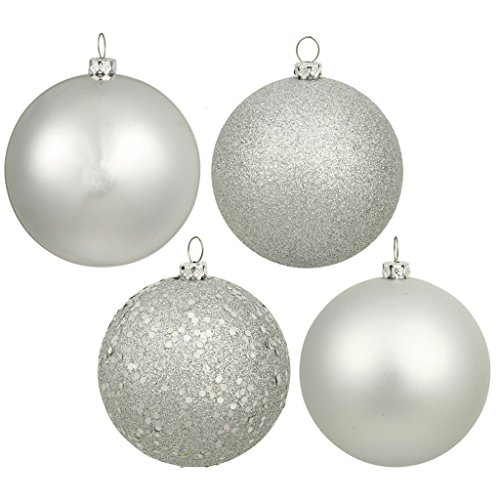 6″ Silver 4 Finish Ball Ornament Box of 4