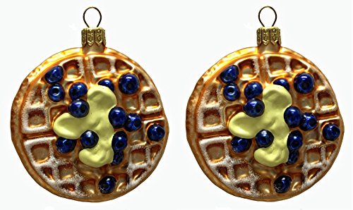 Pinnacle Peak Trading Company Blueberry Waffles with Butter Polish Glass Christmas Tree Ornament Set of 2 Food