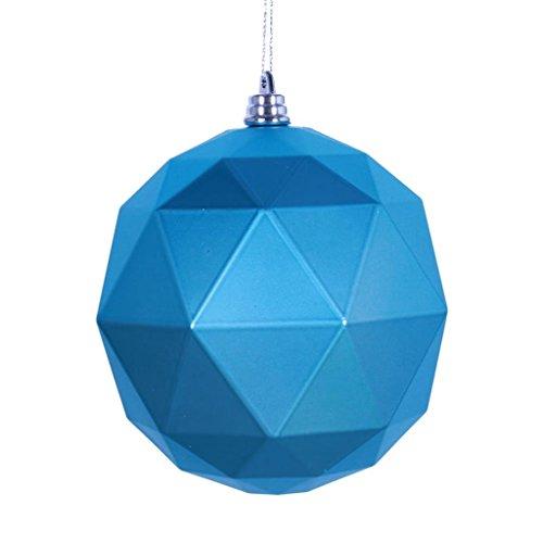 Vickerman 466940-4.75 Turquoise Matte Geometric Ball Christmas Tree Ornament (4 pack) (M177312DM)