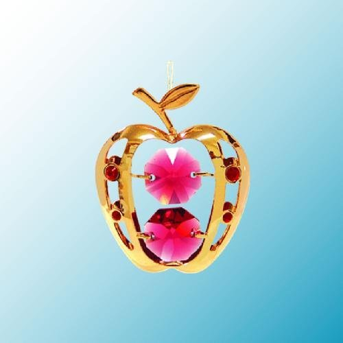 24k Gold Apple Ornament – Red Swarovski Crystal