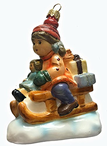 Pinnacle Peak Trading Company M.I. Hummel Christmas Delivery Girl on Sled with Presents Polish Glass Ornament