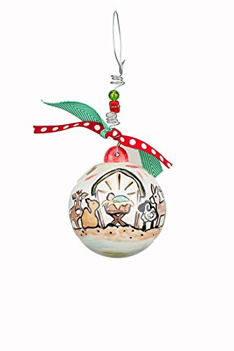 Glory Haus 4″ x 4″ Away in the Manger Ball Ornament, Multicolor