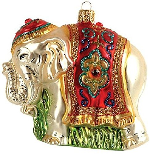 Indian Elephant Polish Glass Christmas Ornament Made in Poland Decoration