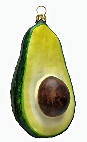 Pinnacle Peak Trading Company Sliced Avocado Fruit Polish Glass Christmas Tree Ornament Food Made in Poland
