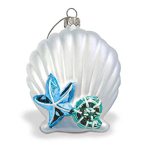 Seashell Elegance Silver Collectible Glass Hawaiian Ornament