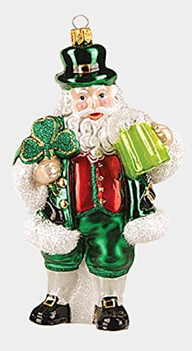 Green Irish Santa with Clover and Beer Polish Glass Christmas Ornament Ireland
