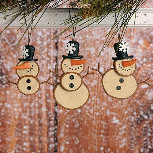 Blossom Bucket – Log Round Snowmen with Top Hat Ornaments #178-51996