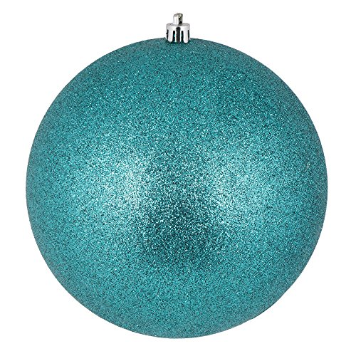 Vickerman N592542DG Glitter Ball Ornament with Shatterproof UV Resistant, Pre-drilled cap Secured & 6″ of Green Floral Wire, 10″, Teal