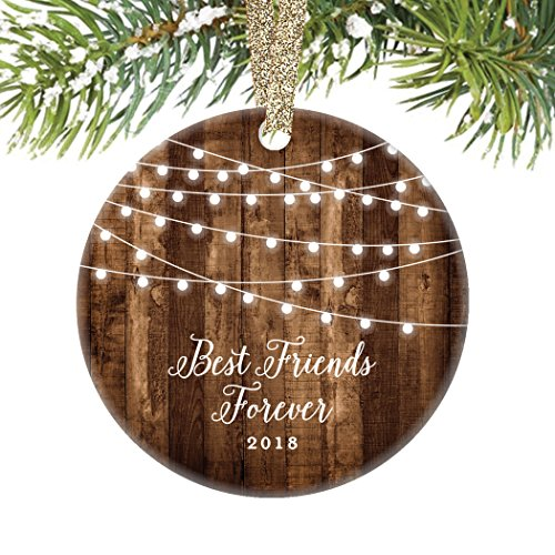 Best Friends Forever Gifts 2018, Bestie BFF Keepsake Christmas Ornament, Rustic Sister Friendship Women Xmas Farmhouse Collectible Present 3″ Flat Circle Porcelain with Gold Ribbon & Free Gift Box