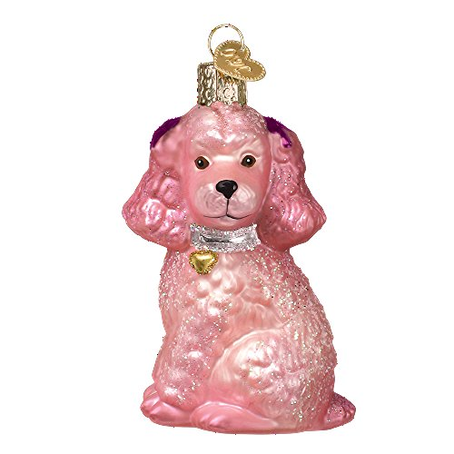 Old World Christmas 1950s Throwback Glass Blown Ornament (Pink Poodle)