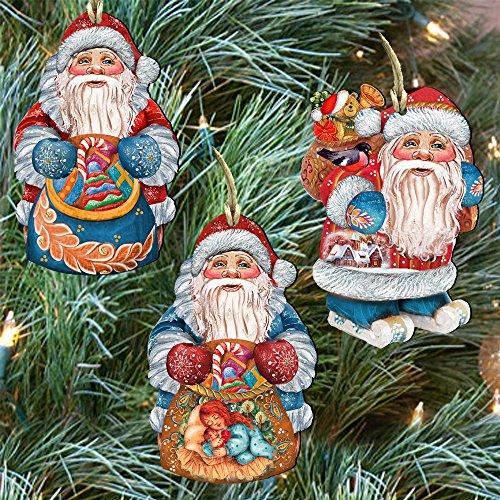 G.DeBrekht Holiday Gifts Christmas Keepsake Wooden Ornament Set of 3 8100007S3