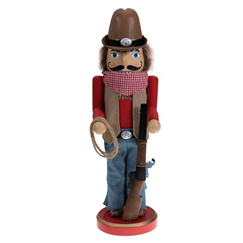 "Tall Cowboy Nutcracker by Clever Creations | Wearing Cowboy Hat, Belt Buckle and Handkerchief | Holding Rifle and Lasso | Perfect for Any Collection | Festive Holiday Decor | 100% Wood | 14"" Tall"
