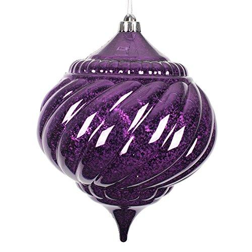 Vickerman M165726 Plum Shiny Mercury Onion Ornament – 6 in. – Bag of 4