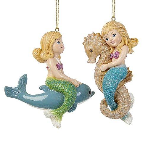 Kurt Adler YAMC6712 4″ Mermaid Girl Ornament Set of 2