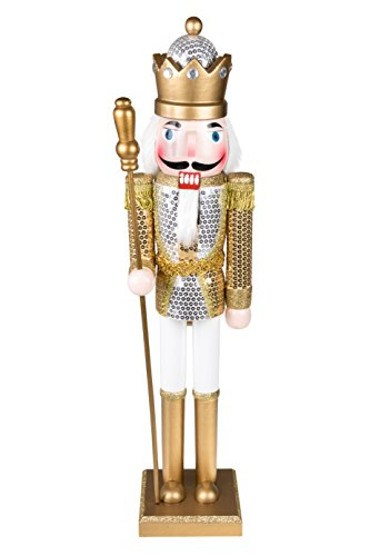 King Nutcracker | Traditional Christmas Decor | With King's Royal Scepter | Wearing Silver and Gold Sequin Shirt | Perfect for Any Collection | Perfect for Shelves & Tables | 100% Wood | 24″ Tall