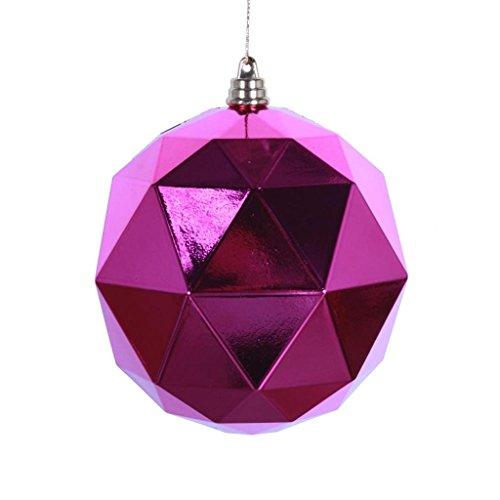 Vickerman 467619 – 4.75″ Fuchsia Shiny Geometric Ball Christmas Tree Ornament (4 pack) (M177370DS)