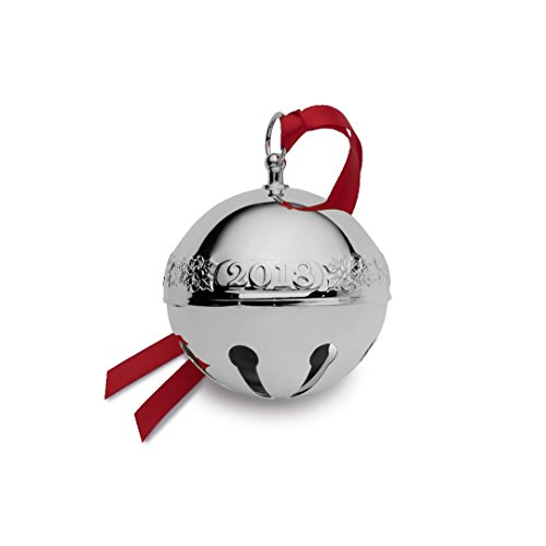 Wallace 5224489 Silver Plate Sleigh Bell Ornament 2018, 48th Edition, Holly and Santas