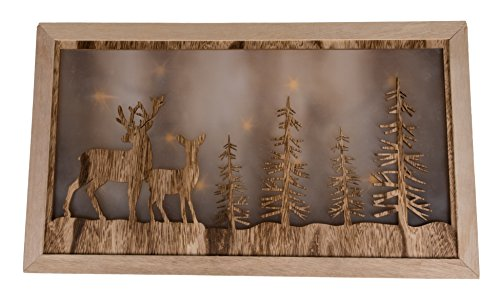 Deer in Winter Forest Wooden Table Top Decoration with Gentle Diffused LED Lighting | Natural Wood Christmas Décor Theme | Stands 17.75″ x 10.5″ | Battery Operated