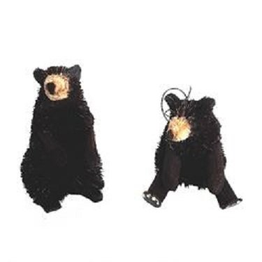 Kurt Adler 2 Assorted 4-Inch Buri Black Bear Ornaments