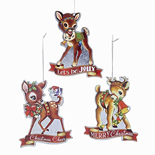 Kurt Adler YAMC5491 4.5″ Metal Retro Deer Ornament Set of 3