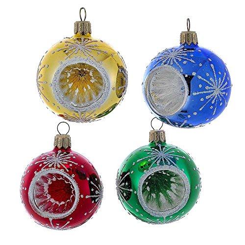 Kurt Adler 63mm Red, Blue, Green, and Gold Glitter Reflector Ball Ornament Set of 4