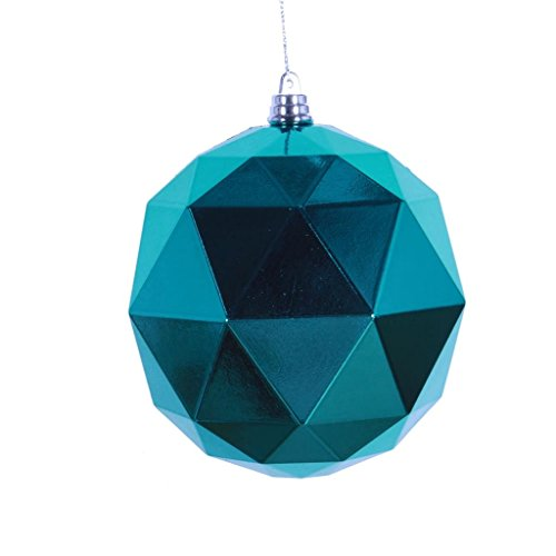 Vickerman 468425-6 Teal Shiny Geometric Ball Christmas Tree Ornament (4 pack) (M177442DS)