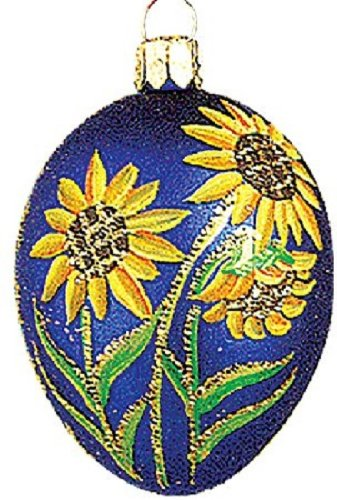 Easter Egg with Sunflowers Polish Glass Christmas Ornament Made in Poland