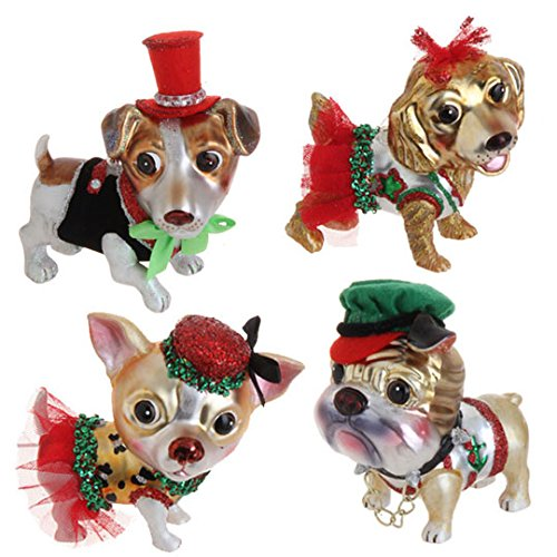 RAZ Imports – Adorable Dog Christmas Tree Ornaments – (Set of 4)