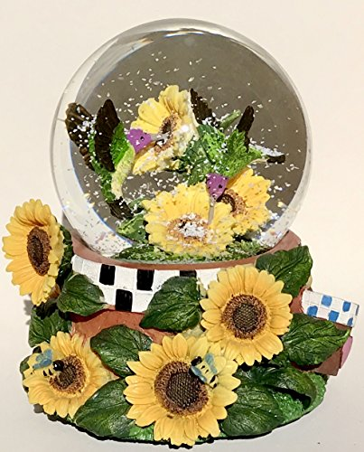 Think Crate Hummingbird In Sunflower Snow Globe Music Box 100mm Water Ball 5.75″