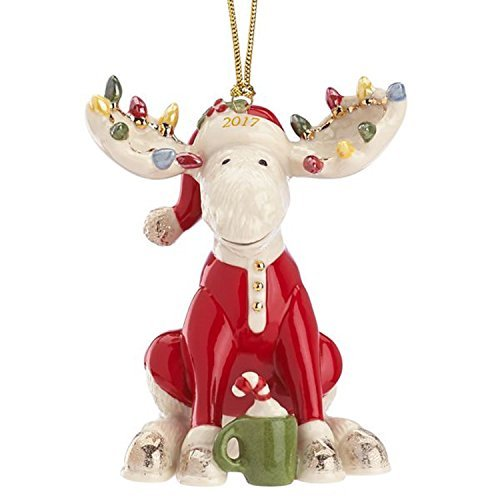 Lenox 2017 Marcel Moose Figurine Ornament Annual The Bedtime Red Pajamas Christmas