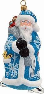 Joy to the World – Glitterazzi Santa w/large snowflakes – Blown Glass Ornament