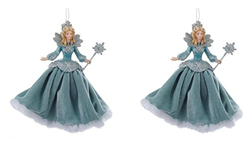 Kurt Adler 6″ Blue and Silver Angel Christmas Tree Ornament, Set of 2