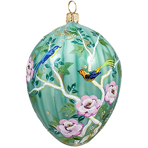 Joy To The World Glitterazzi Chinoserie Jeweled Egg Polish Glass Christmas Tree Ornament Birds