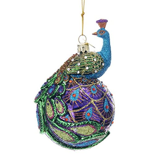 Kurt Adler 5″ NOBLE GEMS GLASS PEACOCK ORNAMENT