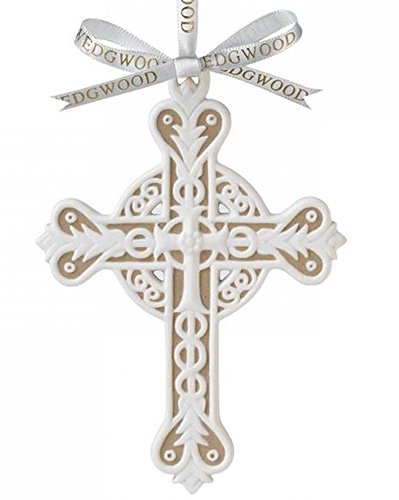 Wedgwood Cross Figural Ornament Jasperware White/Tan (2013) Undated New In Box