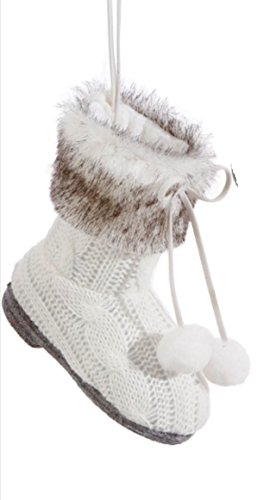 Christmas Sweater Fabric & Fur Bootie Ornament 4″ BUYER CHOICE of SOLID WHITE, WHITE AND GREY or MOSTLY GREY (DARK GREY)