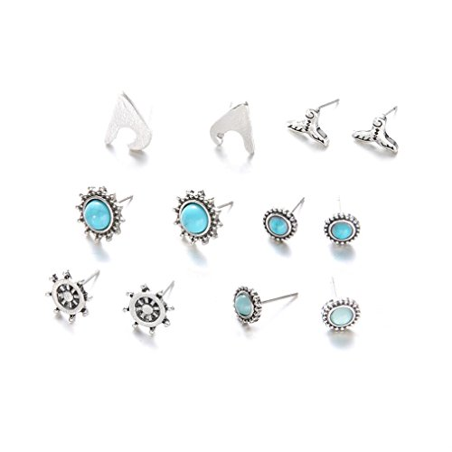 Clearance Lethez 6 Pairs Women Fish Tail Ship Bohemia Stud Earrings Simple Ornament Jewellery for Girl (Blue)