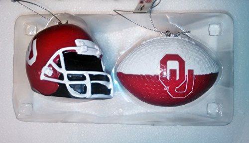NCAA OKLAHOMA SOONER FOOTBALL 2 Ornament Set by Forever Collectibles BALL AND HELMET