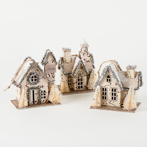 One Hundred 80 Degrees Vintage House Ornaments with Tinsel – Set of 3